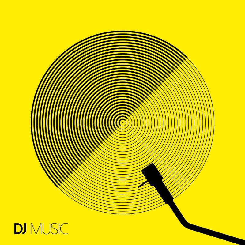 Винил круга геометрии дизайна музыки DJ в линии искусстве иллюстрация вектора