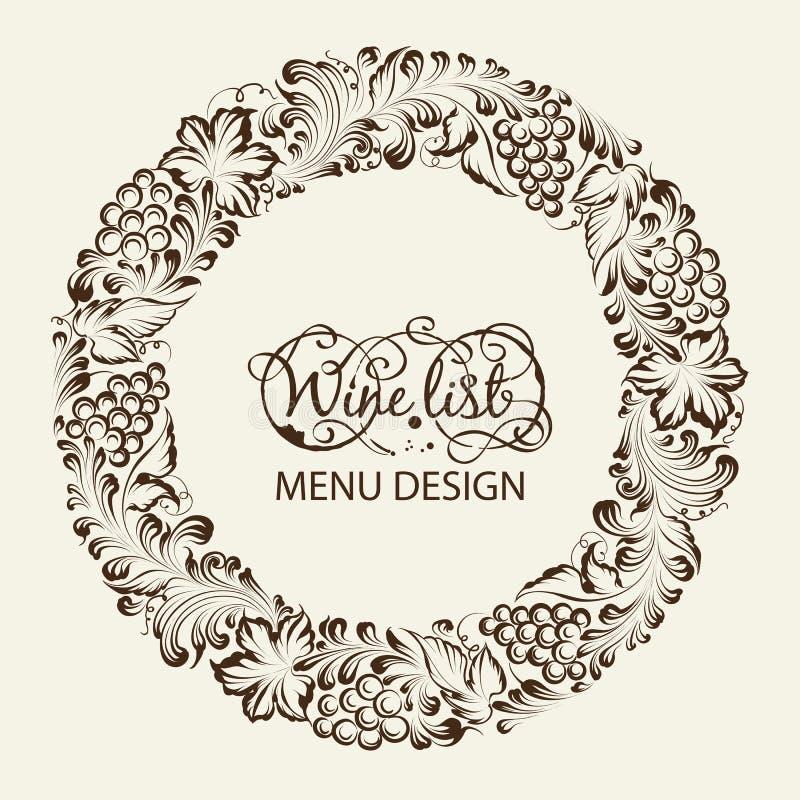 Винная карта дизайна меню. бесплатная иллюстрация