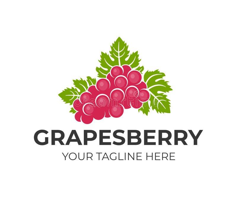 Виноградины ягода и плодоовощ, связка винограда с листьями, шаблон логотипа Витикультура, виноделие и сельское хозяйство, естеств бесплатная иллюстрация