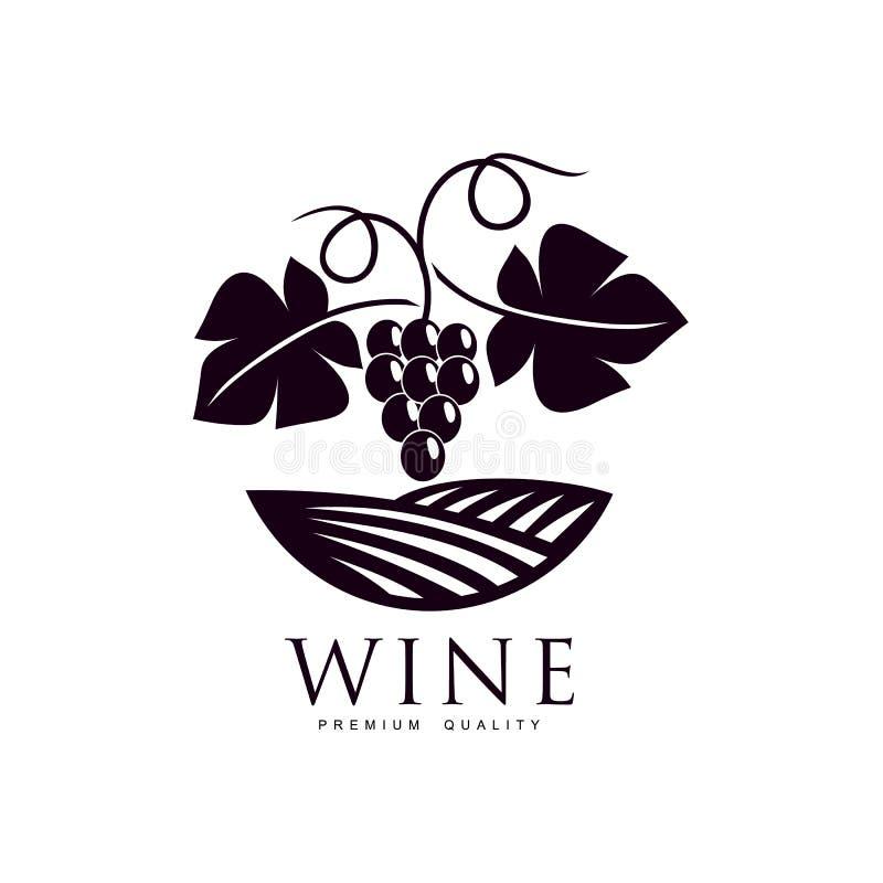 Виноградное вино с зрелым значком виноградин и листьев бесплатная иллюстрация