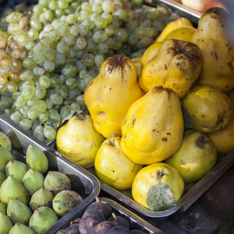 Виноградины, айва, tangerines, смоквы в контейнерах стоковые изображения rf