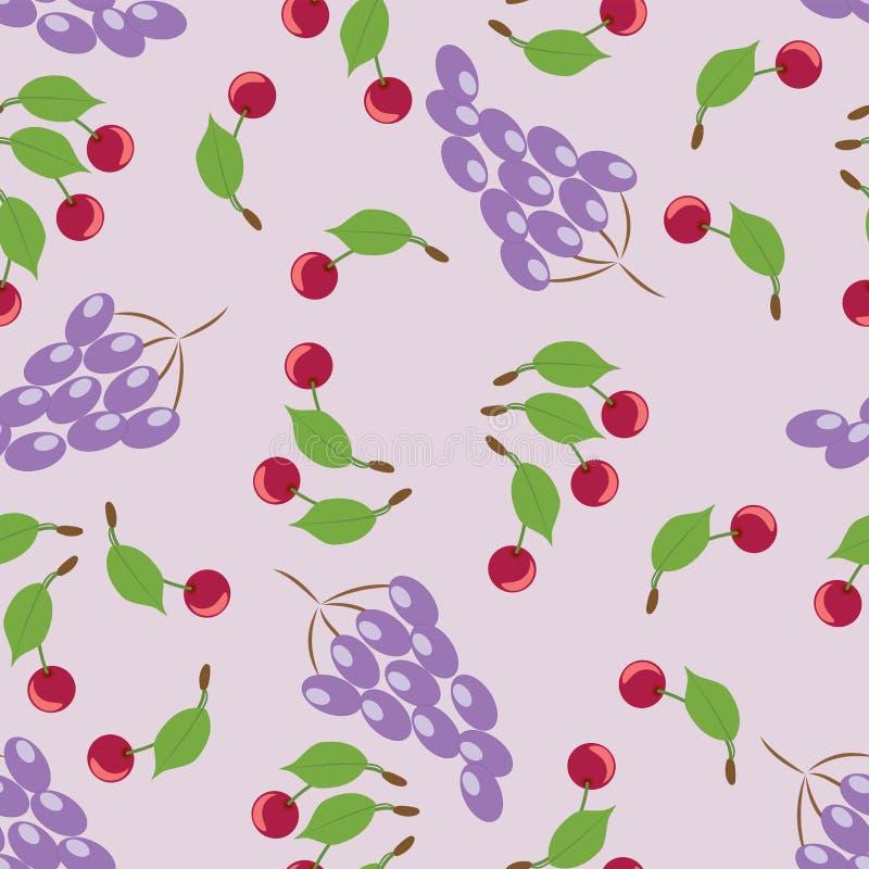 Виноградины и вишни Сбор иллюстрация штока