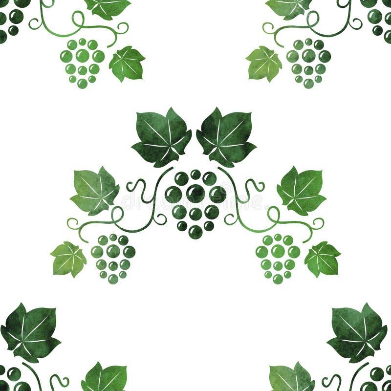 Виноградные лозы зеленого цвета стиля акварели безшовные иллюстрация вектора