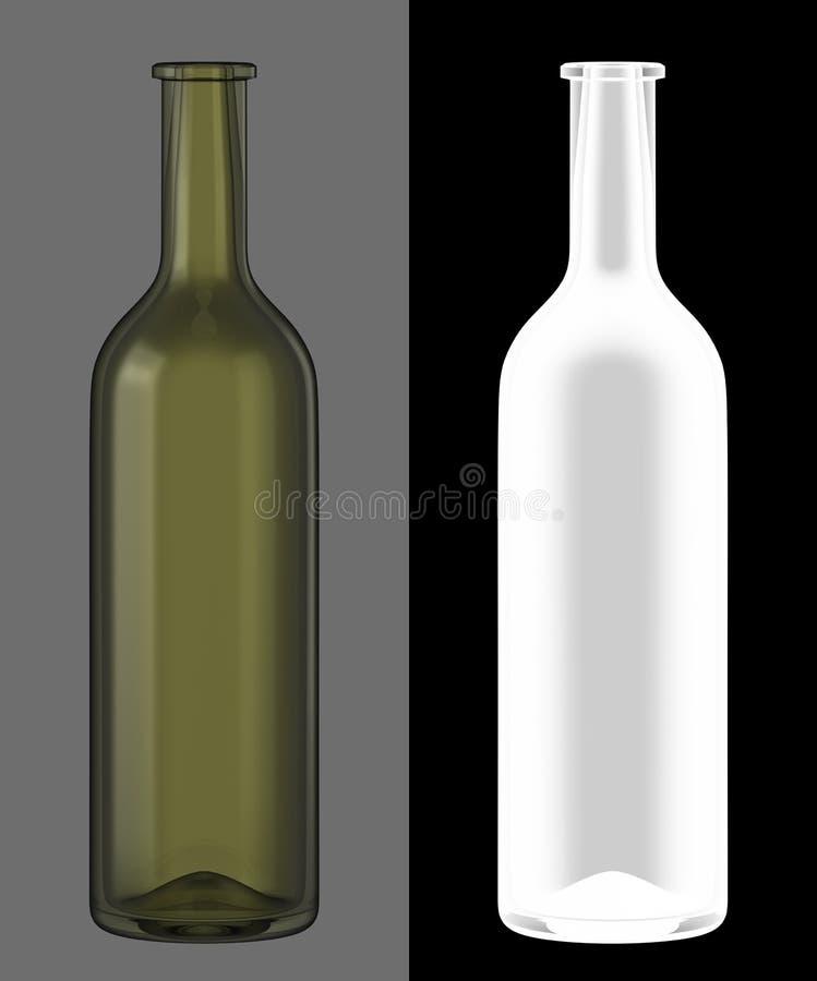вино бутылочного стекла зеленое иллюстрация вектора