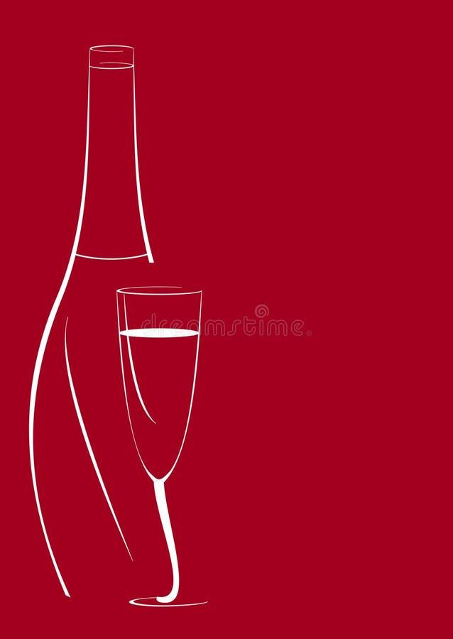 вино бутылочного стекла предпосылки красное иллюстрация штока
