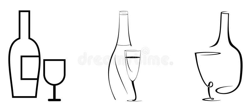 вино бутылочного стекла иллюстрация штока
