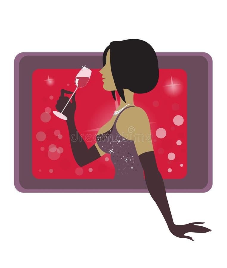 вино девушки иллюстрация штока