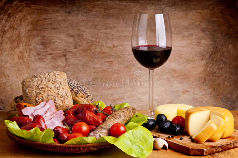 вино еды традиционное стоковая фотография rf