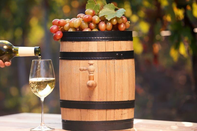 Вино женщины лить белое в стекло на таблице outdoors стоковая фотография