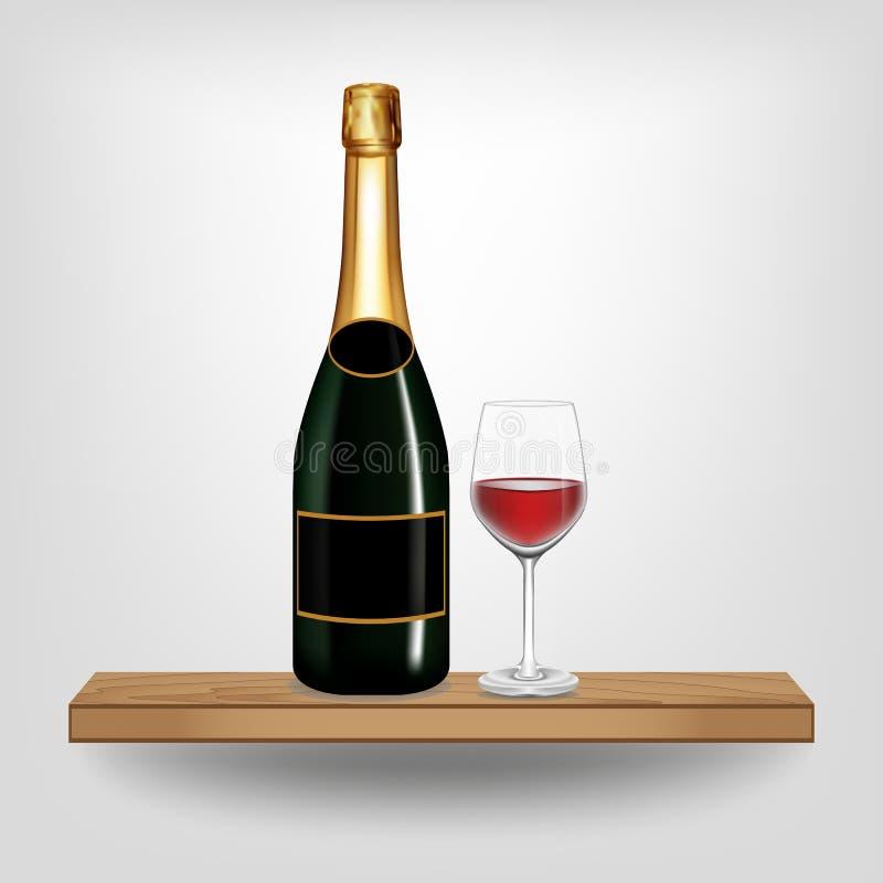 Вино и стекло бутылочного зеленого на деревянной полке иллюстрация штока