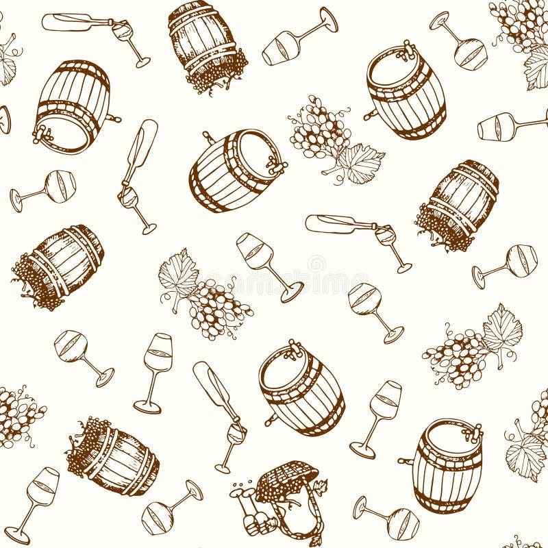 вино картины безшовное Продукты виноделия в стиле эскиза Установленные алкогольные напитки нарисованные рукой Иллюстрация вектора бесплатная иллюстрация