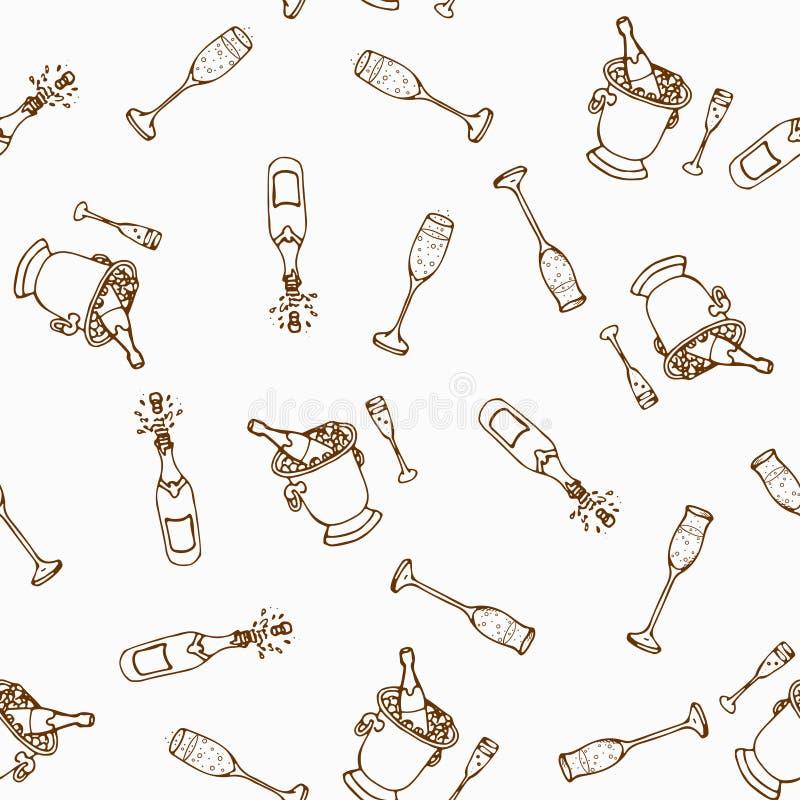 вино картины безшовное Продукты виноделия в стиле эскиза Установленные алкогольные напитки нарисованные рукой Иллюстрация вектора иллюстрация штока