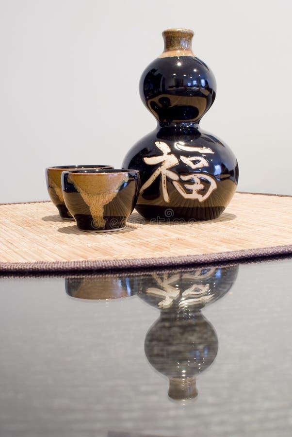 вино китайского отражения установленное стоковое изображение rf