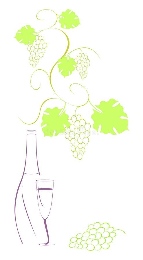 вино лозы виноградины бутылки бесплатная иллюстрация