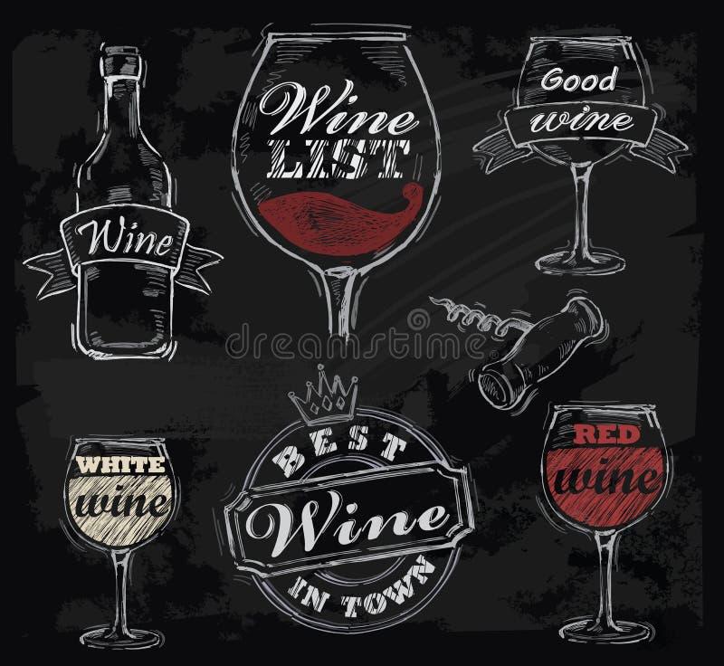 Вино мелка вектора иллюстрация штока