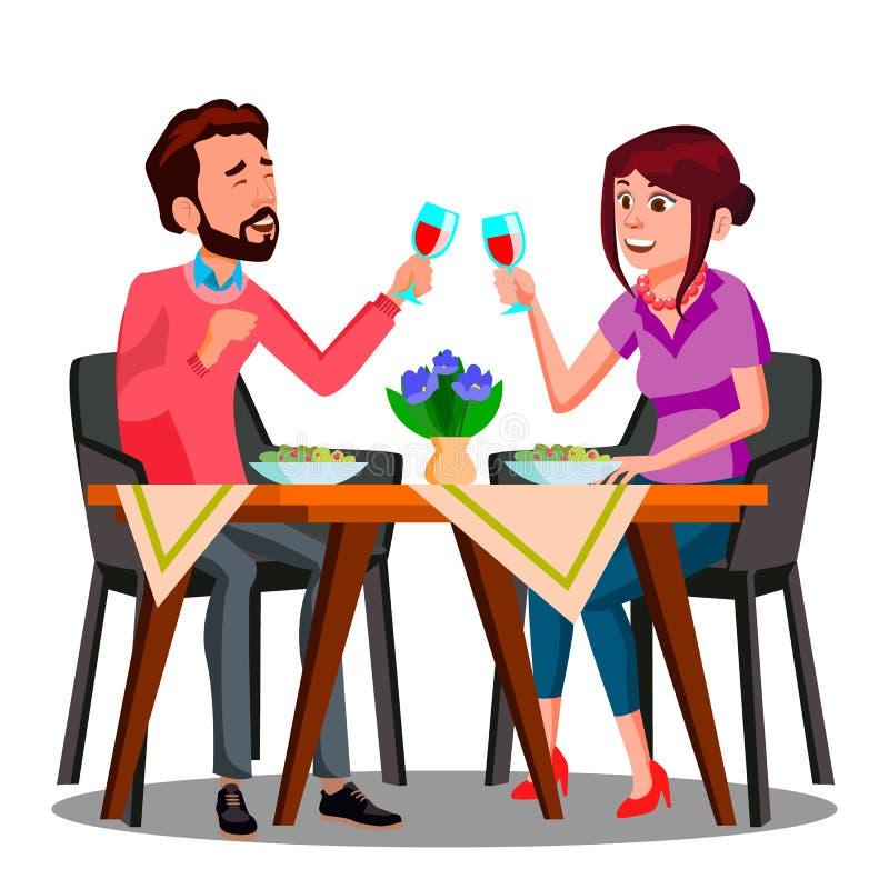 Вино молодых пар выпивая от стекел в векторе ресторана изолированная иллюстрация руки кнопки нажимающ женщину старта s иллюстрация штока