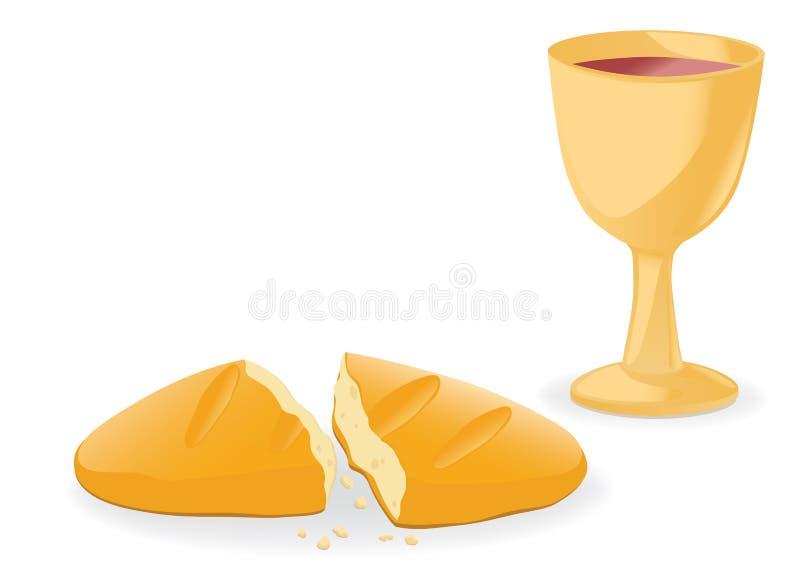 вино общности хлеба иллюстрация штока