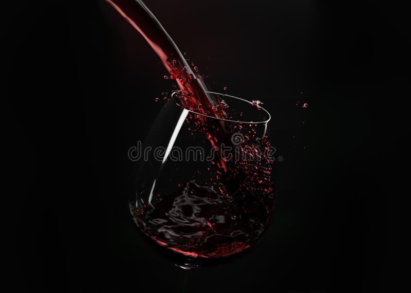 Вино политое на опрокинутом стекле стоковые изображения