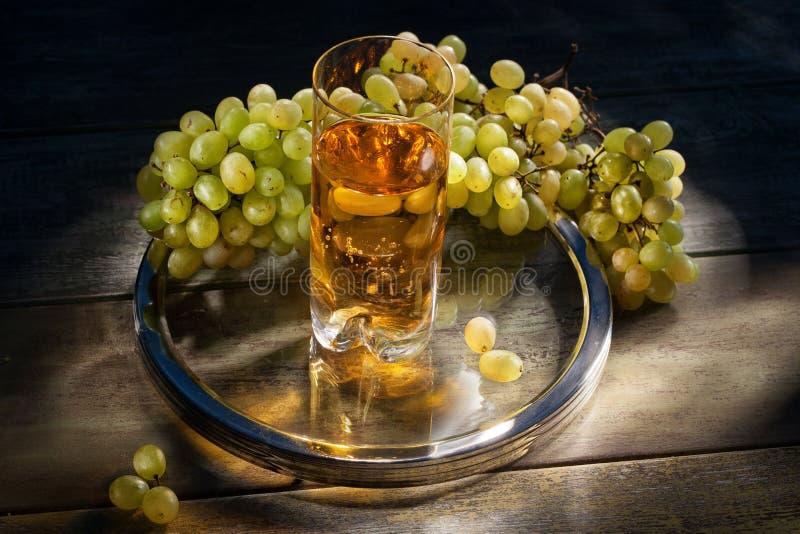 вино руки виноградины покрашенное иллюстрацией стоковые изображения