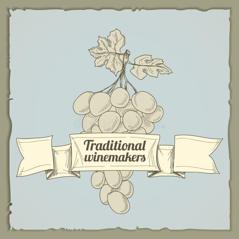 вино сбора винограда ярлыка иллюстрация вектора
