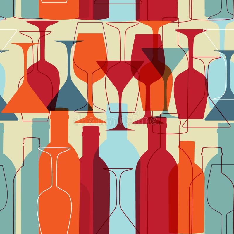 вино стекел бутылок предпосылки безшовное иллюстрация штока