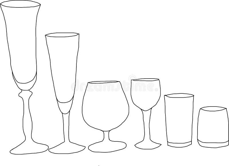 вино установленное стеклами иллюстрация вектора