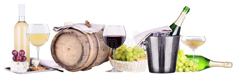Вино Шампани, красных и белых стоковое фото
