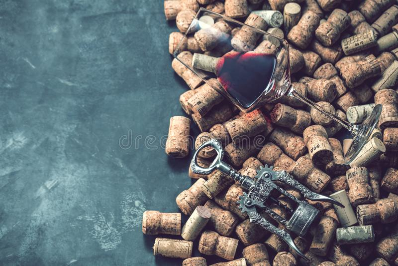 Вино corks форма и лоза виноградины на каменной таблице стоковое изображение rf