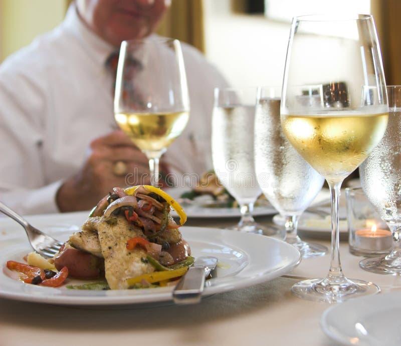 вино flounder sauteed стоковая фотография