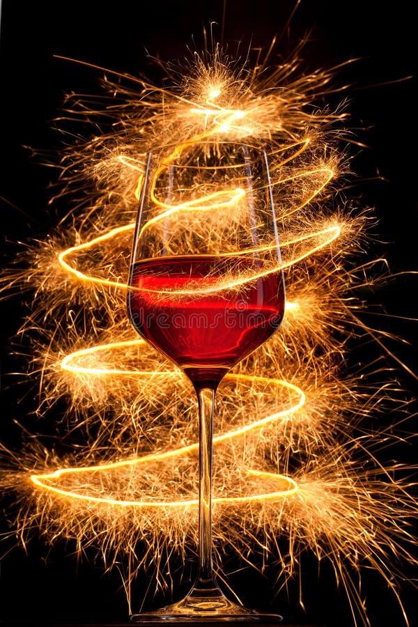 вино sparklers горящего стекла стоковое изображение