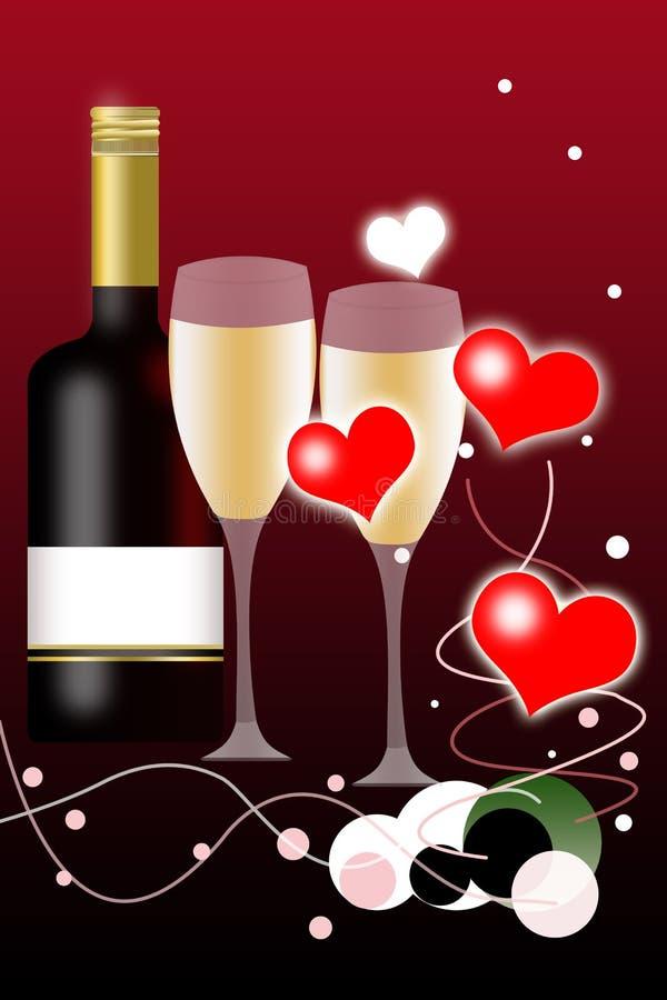 вино valentines дня бутылки предпосылки иллюстрация вектора