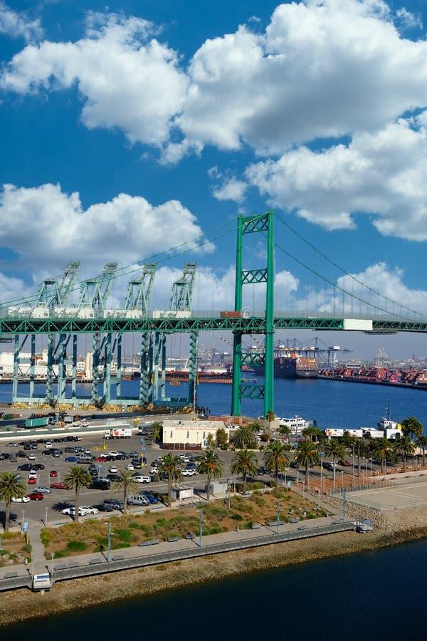 Винсент Томас мост в Лос-Анджелесе стоковое изображение