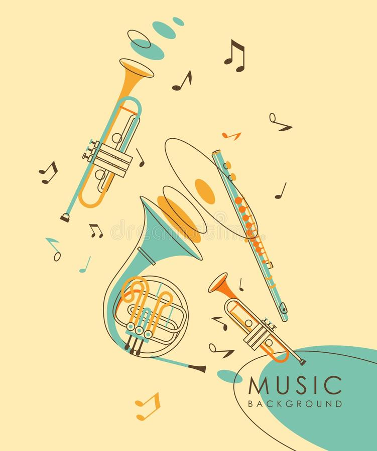Винтажная абстрактная музыкальная предпосылка иллюстрация штока