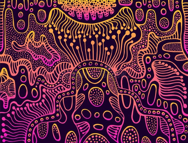 Винтажная абстрактная предпосылка орнамента градиента, яркий пинк, желтые цвета, изолированные на темной предпосылке doodle иллюстрация вектора