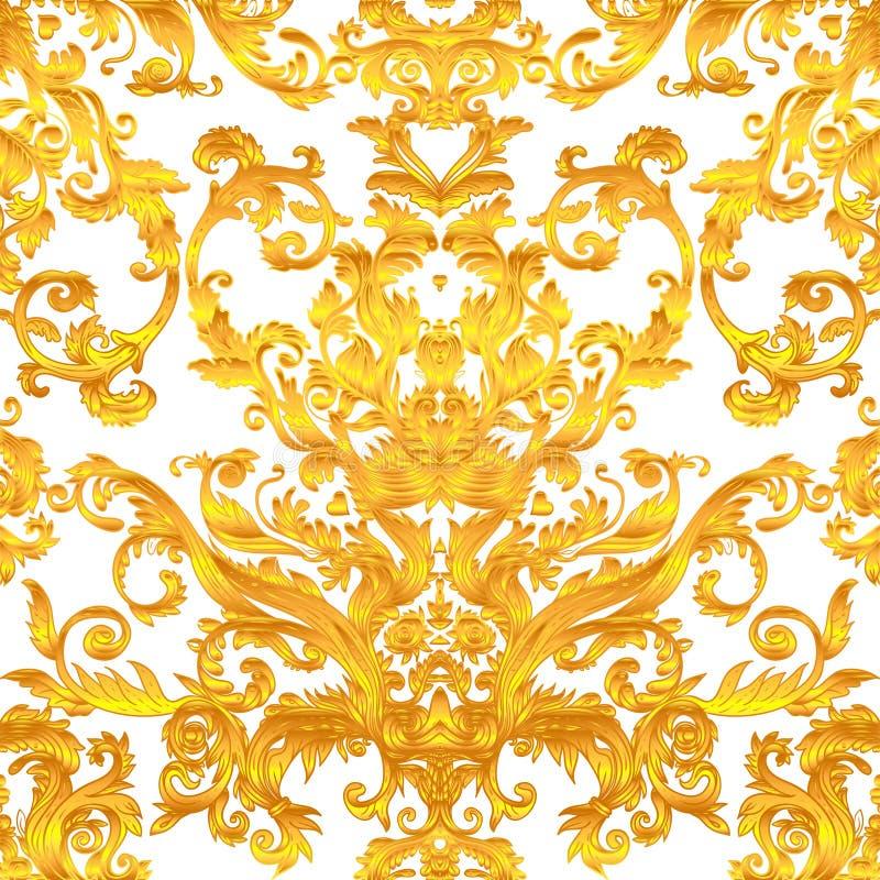 Винтажная барочная флористическая безшовная картина в золоте над белизной Orna иллюстрация штока