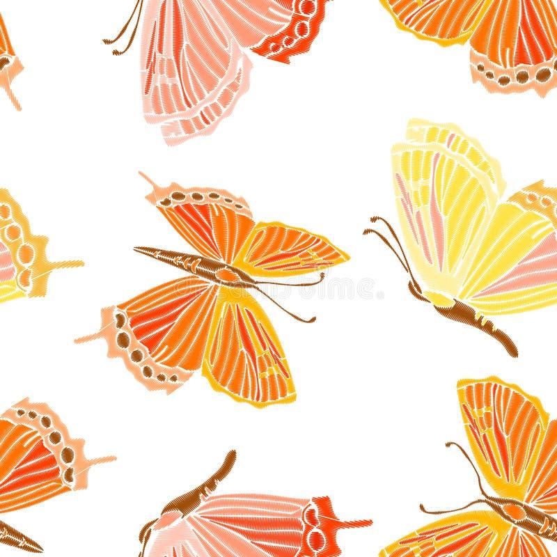 Винтажная безшовная картина: птица, бабочка изолированная на предпосылке Имитация вышивки вычерченный вектор руки иллюстрация штока
