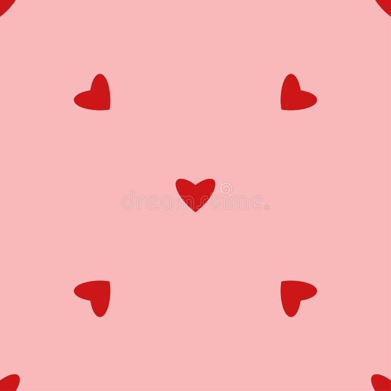 Винтажная безшовная картина сердца Милые простые сердца стиля на розовой предпосылке Романтичная иллюстрация вектора иллюстрация штока