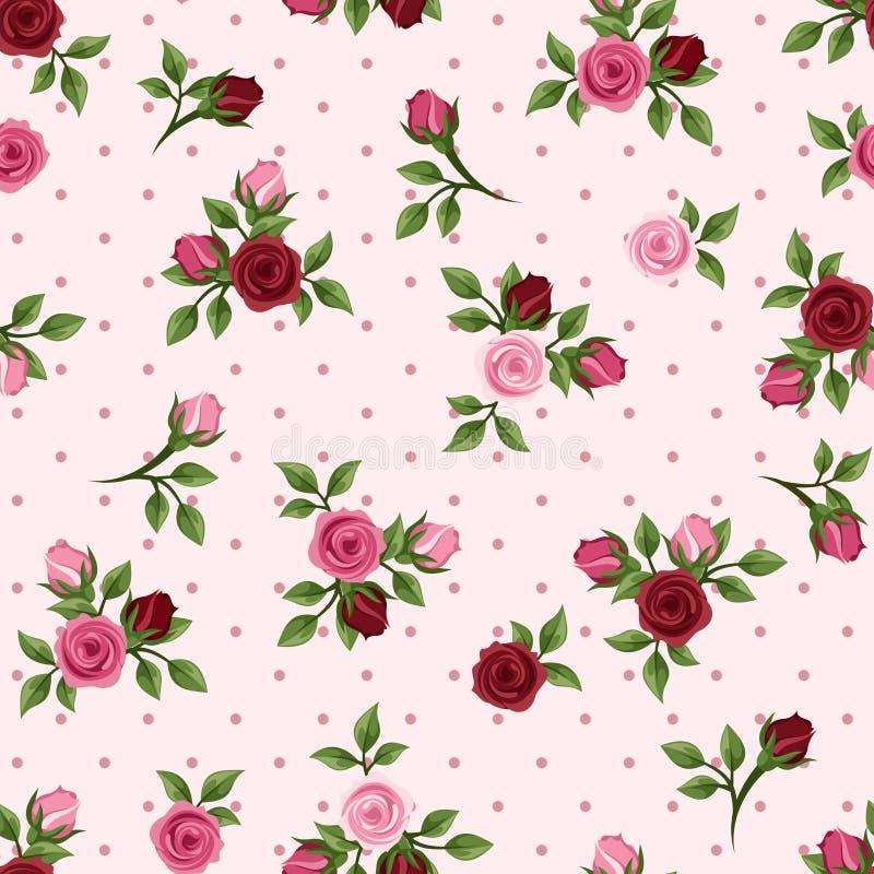 Винтажная безшовная картина с красными и розовыми розами. Иллюстрация вектора. иллюстрация вектора