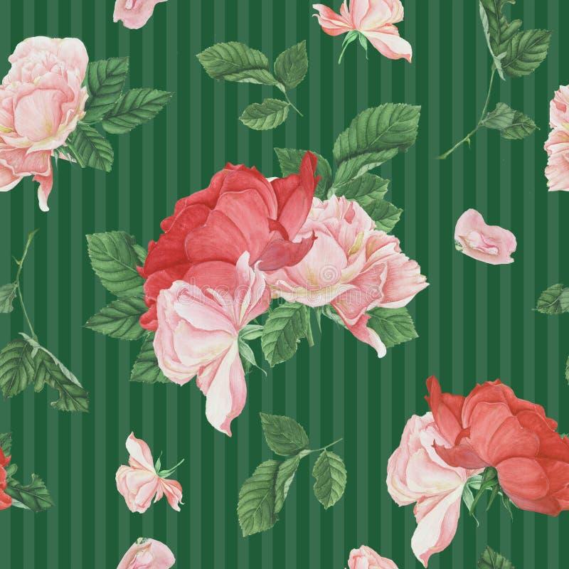 Винтажная безшовная картина с розовыми розами и листьями бесплатная иллюстрация