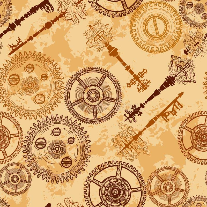 Винтажная безшовная картина с шестернями ключей clockwork и антиквариата на постаретой бумажной предпосылке бесплатная иллюстрация
