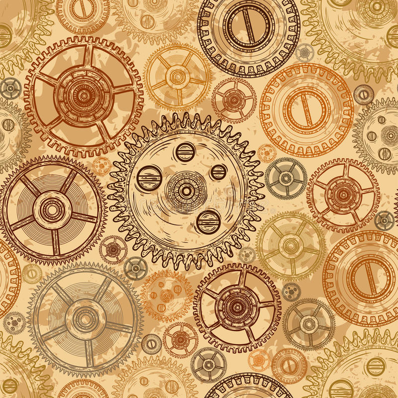 Винтажная безшовная картина с шестернями clockwork на постаретой бумажной предпосылке бесплатная иллюстрация
