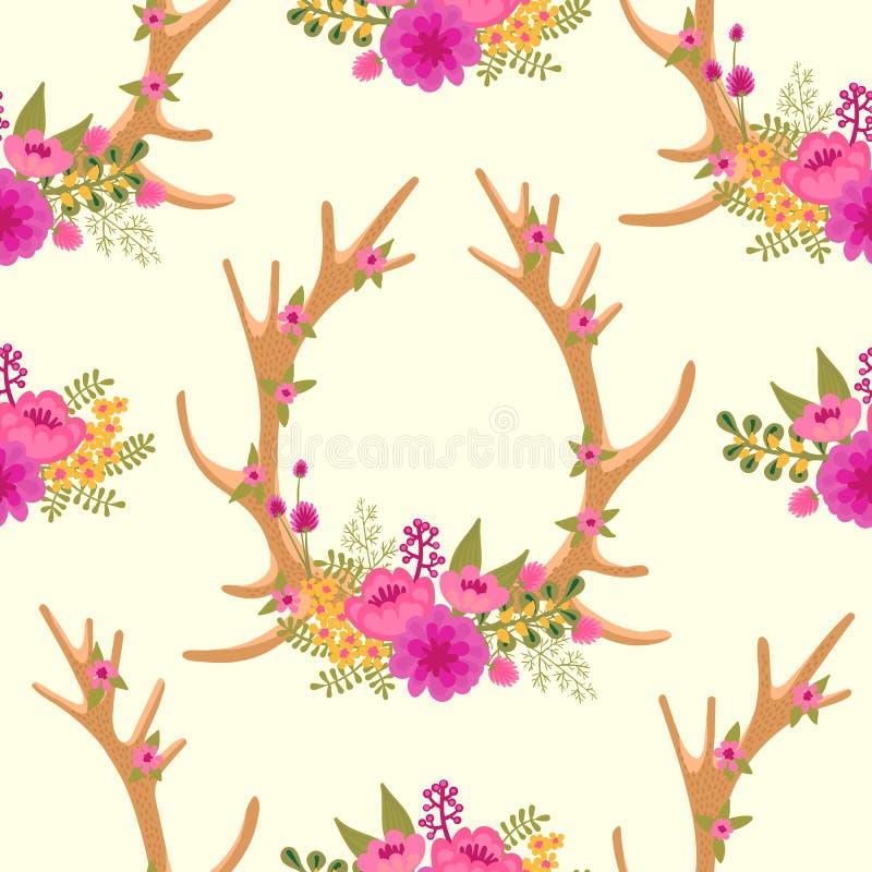 Винтажная безшовная картина с antlers оленей и иллюстрация вектора