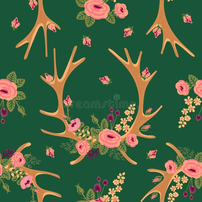 Винтажная безшовная картина с antlers оленей и иллюстрация штока