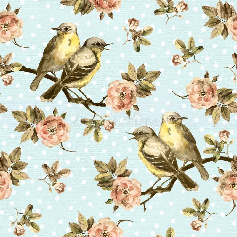 Винтажная безшовная предпосылка с ретро птицами в саде иллюстрация вектора