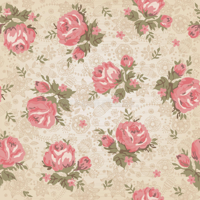 Винтажная безшовная флористическая картина иллюстрация штока