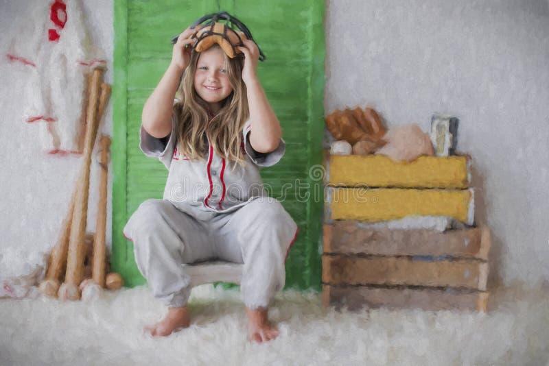 Винтажная бейсбольная девушка стоковая фотография rf