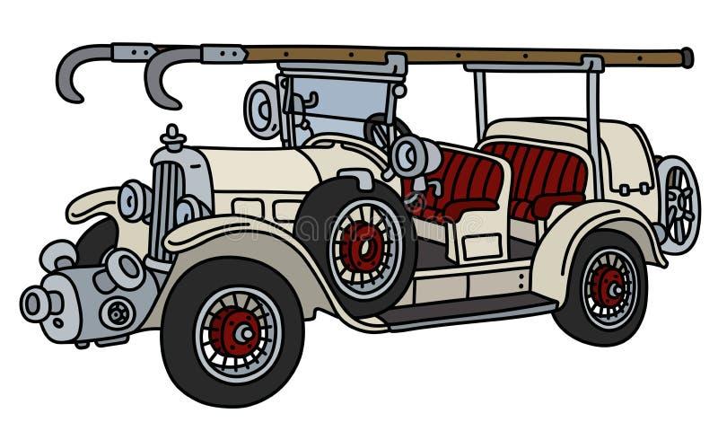 Винтажная белая пожарная машина иллюстрация штока