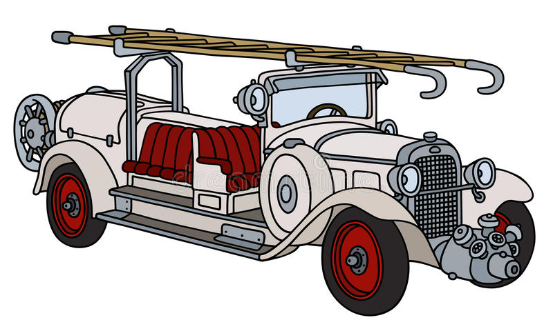 Винтажная белая пожарная машина иллюстрация вектора