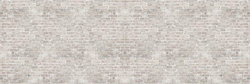 Винтажная белая текстура кирпичной стены мытья для дизайна Панорамная предпосылка стоковое фото rf