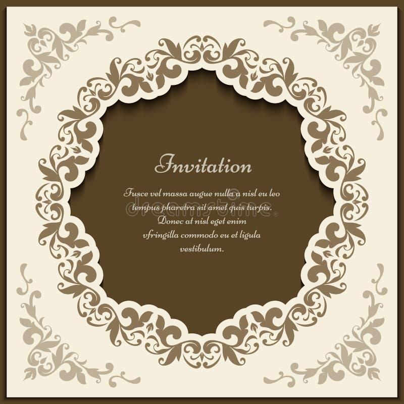 Винтажная богато украшенная рамка, шаблон карточки выреза бесплатная иллюстрация